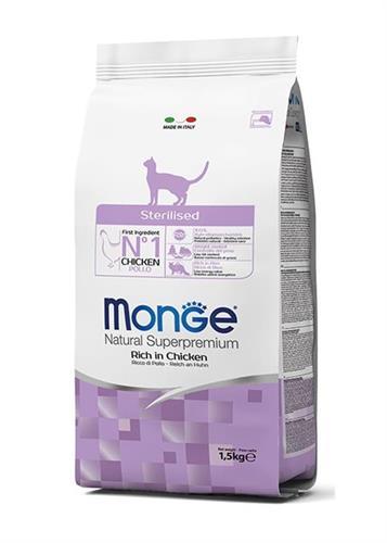 """8009470005135 אוכל יבש לחתול מעוקר\מסורס בטעם עוף 10 ק""""ג Monge"""
