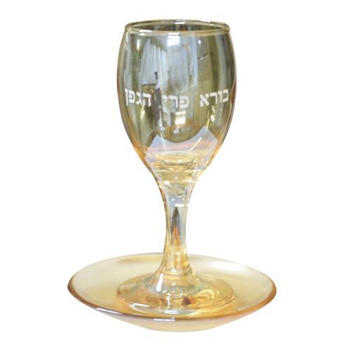 """גביע קידוש זכוכית עם תחתית והדפסה 15 ס""""מ - זהב"""