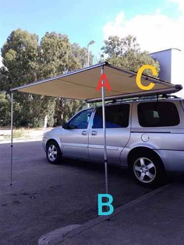 עמוד תומך לסככת צל מתקפל תמונה C אורך מקסימום 3.4 מטר במצב פתוח