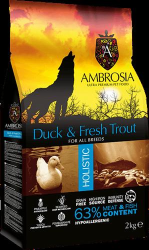 אמברוסיה לכלב אדולט ברווז/טרוטה 12 קג