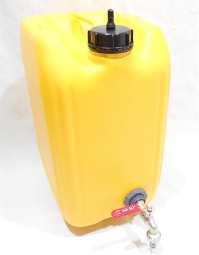 מיכל צהוב עם ברז כדורי ונשם ג'ריקן 20 ליטר מתאים למי שתיה