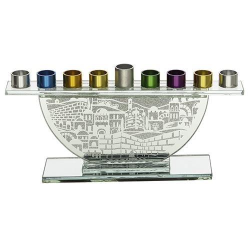 """חנוכייה לשמן מזכוכית נצנץ קנים צבעוניים 11.5X26 ס"""""""