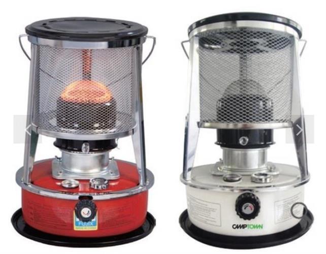 תנור נפט CAMPTOWN FUJI צבע לבן ניתן גם לחמם איתו מים למקלחת בשטח
