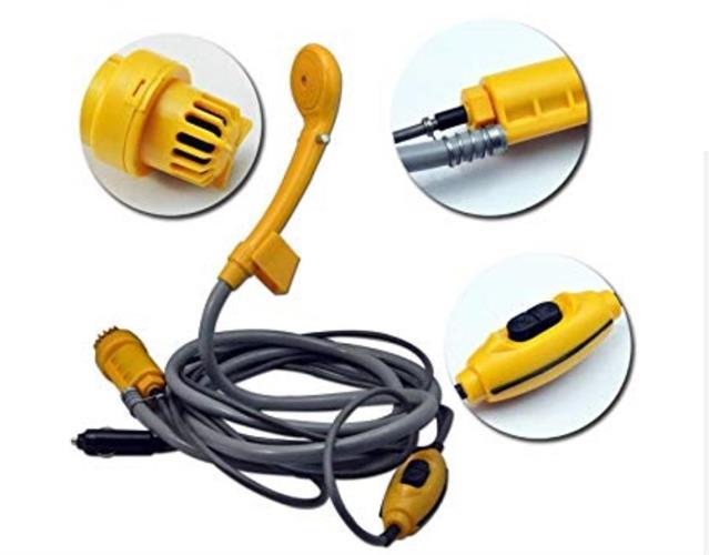 מקלחת שטח חוץ חשמלית 12V צבע צהוב או כתום אחריות 3 חודשים