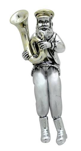 """חסיד יושב מפולירזן מוכסף עם רגלי בד כסף מנגן בטרומבון 16 ס""""מ"""