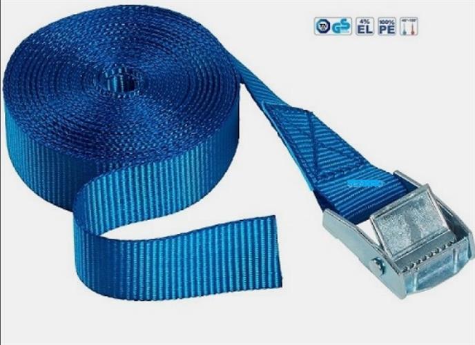 רצועה קשירה והידוק אוטומטי לחצן קפיצי 3 מטר  צבע כחול