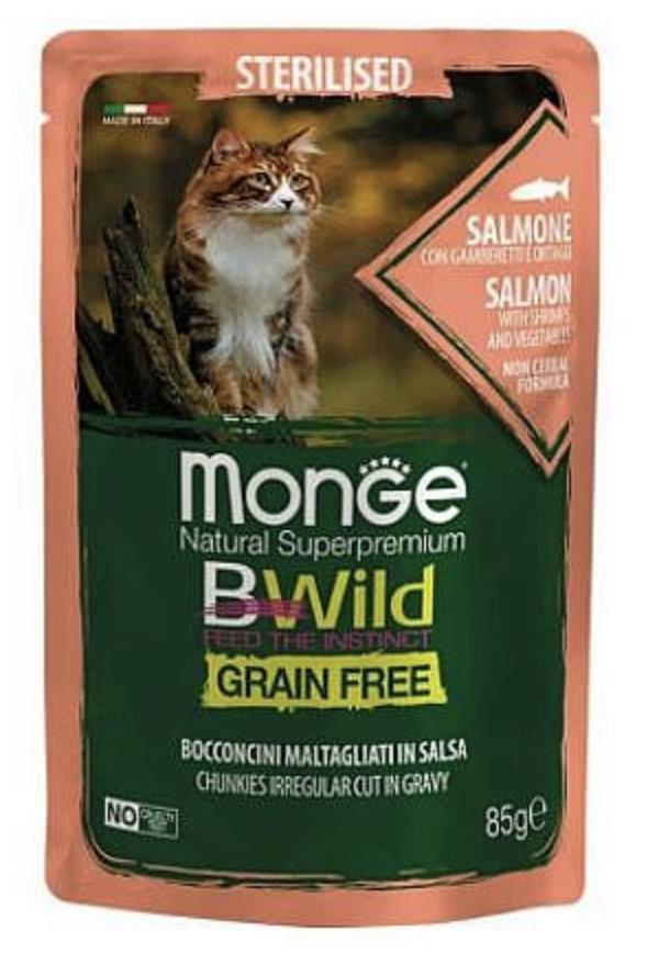 MONGE BWILD Grain Free מזון רטוב 85 גר' לחתול מעוקר בטעם דג סלמון עם שרימפס