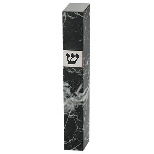 """שש0711 מזוזה עץ 15 ס""""מ - שיש שחור"""
