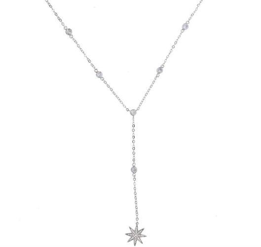 שרשרת כוכב יהלומים - ציפוי כסף