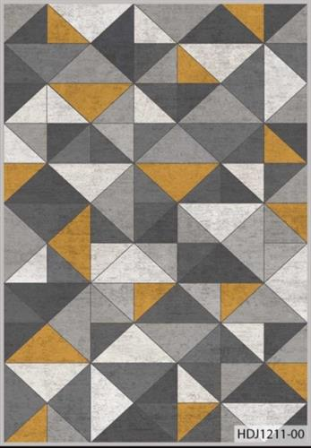 שטיח מודפס גאומטרי אפור כתום