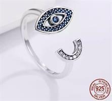 טבעת עין מתכווננת - כסף אמיתי