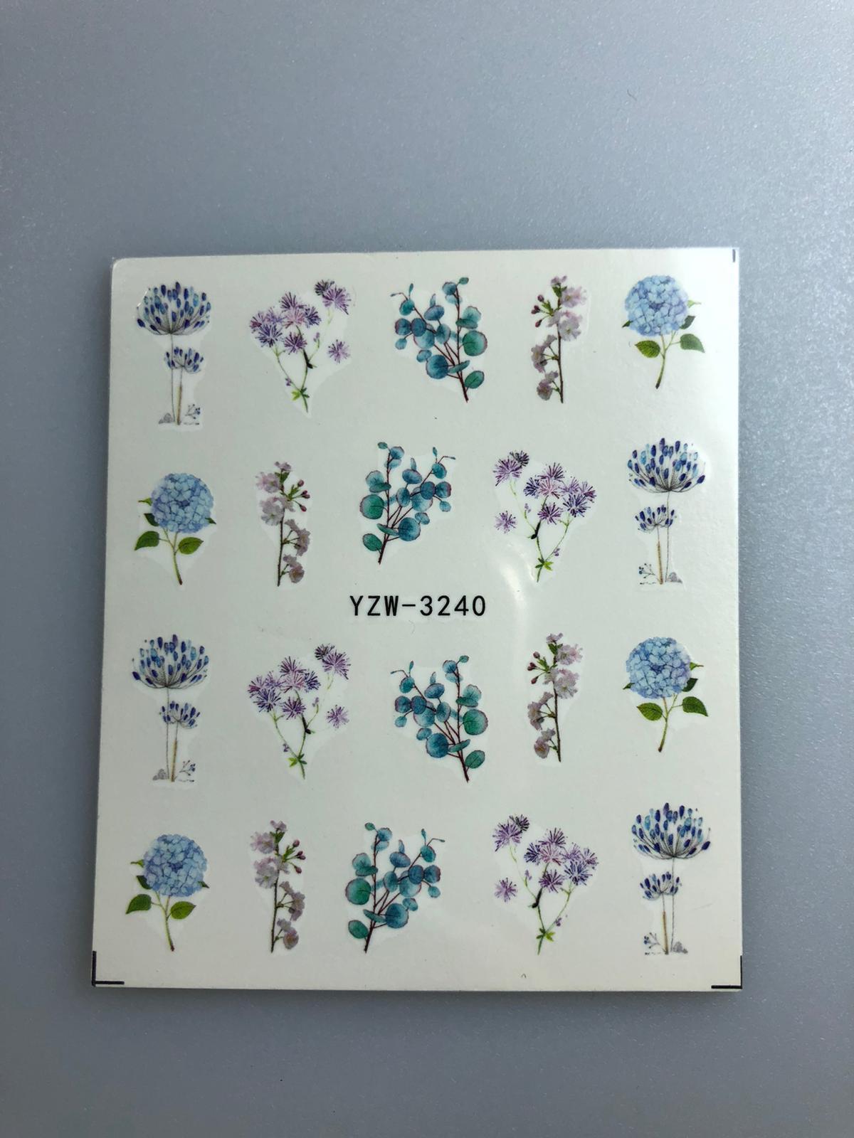 מדבקות מים פרחים סגול כחול
