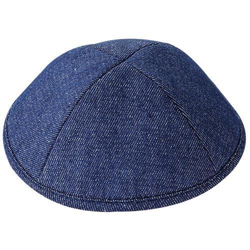 """כיפה ג'ינס כחול 19 ס""""מ עם מקום לסיכה"""