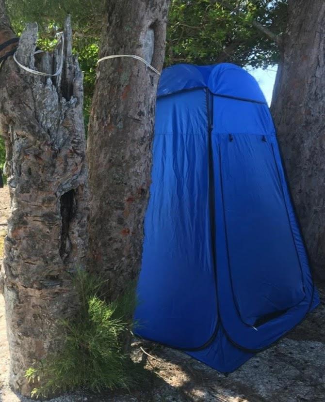 אוהל תא הלבשה צבע כחול מתאים למקלחון ואו שירותים בשטח