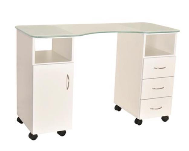 (איסוף עצמי מהחנות בלבד) שולחן מניקור צורתי מפואר עם פלטת זכוכית