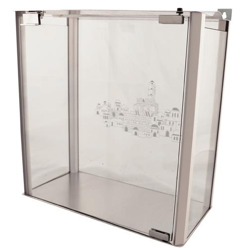 """בית חנוכייה מהודר 40 ס""""מ מאלומיניום וזכוכית - פרופילים בגון לבן 40*20*40 ס""""מ"""