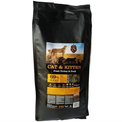 אמברוסיה מזון חתול בוגר/גור הודו ברווז 6 קג