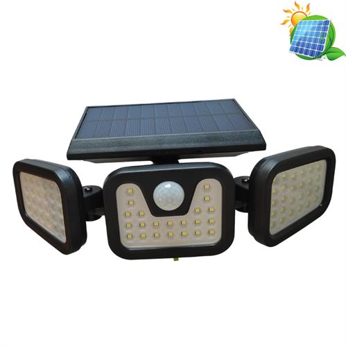 תאורה LED סולארית חזקה - 3 פנסים עם חיישן תנועה