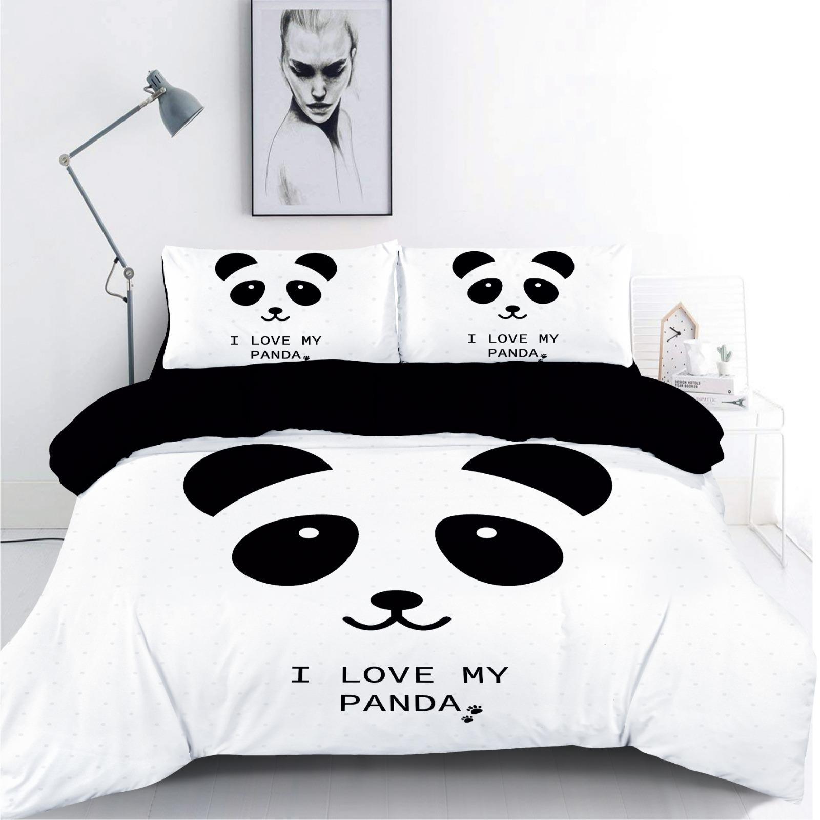 סט מצעים מיטה וחצי 100% כותנה Panda