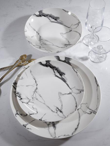 סט צלחות פורצלן מעוצבות, 18 חלקים שיש לבן  - גוליאן
