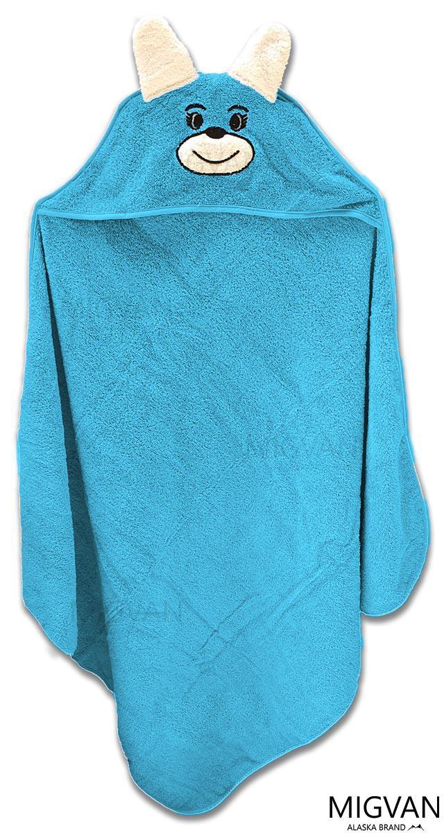 מגבת קפוצ'ון לתינוק עם רקמת ארנבון צבע טורקיז