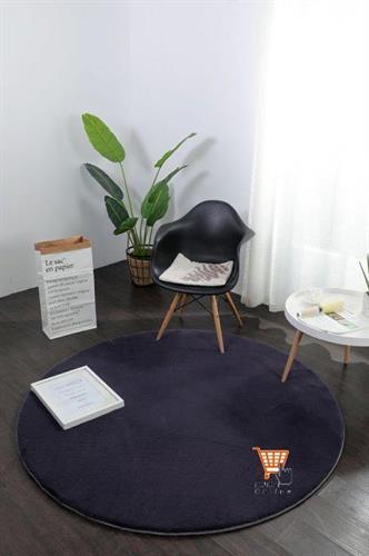 שטיח פרווה שחור - עגול