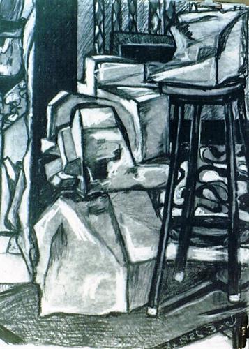 רישום - פסל בסטודיו