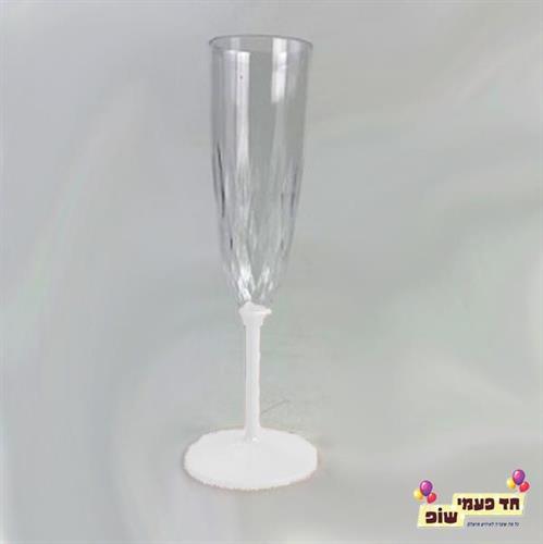 כוסות שמפניה רגל לבן