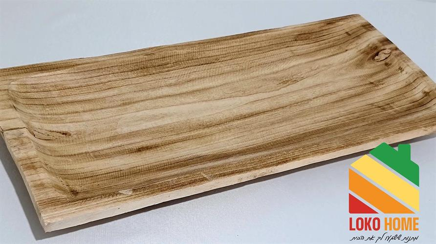 מגש מלבני עץ מגולף מעוצב - רב שימושי