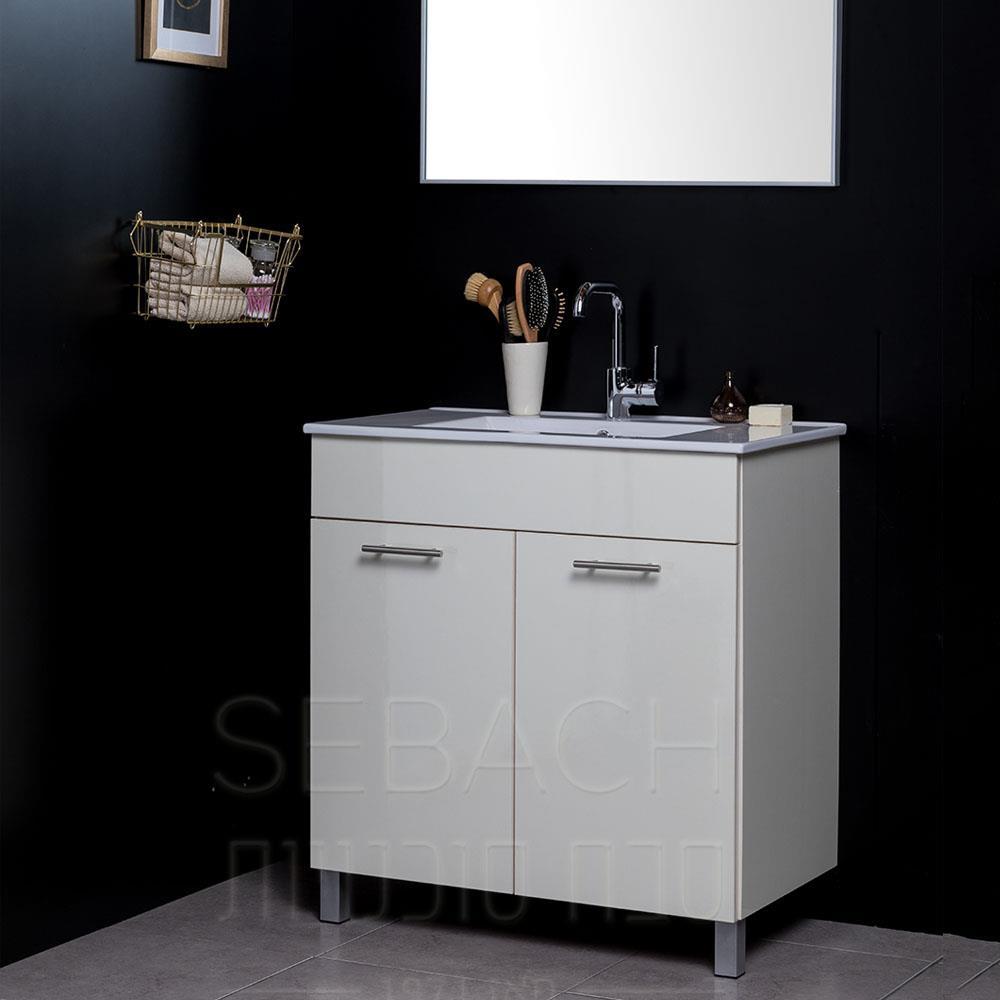 """ארון אמבטיה 80 ס""""מ מדגם איליי כולל כיור ומראה"""