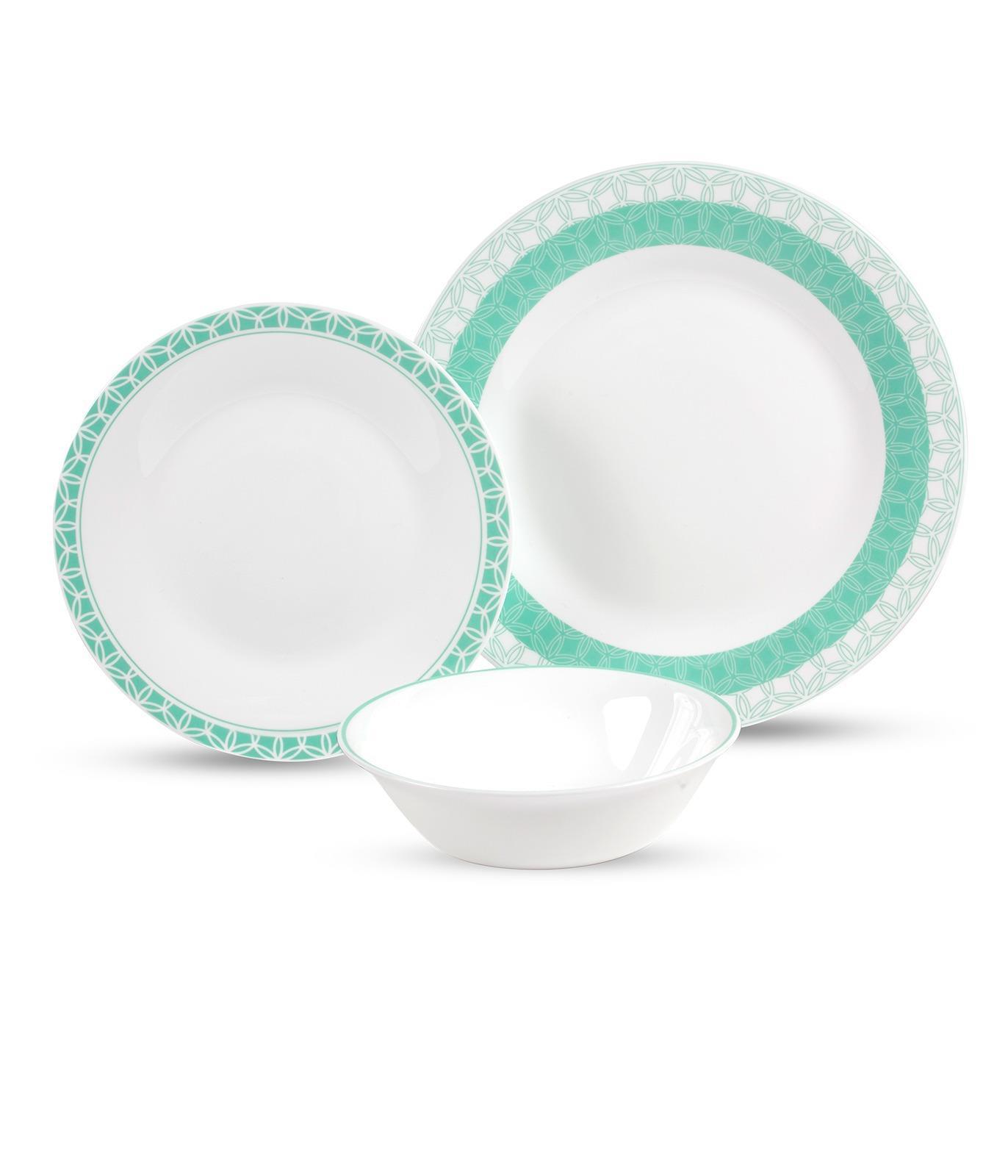 סט צלחות מעוטר מזכוכית אנטי צ'יפ 18 חלקים TWISTED GEOMETRY מבית פוד אפיל (Food Appeal), 18 חלקים