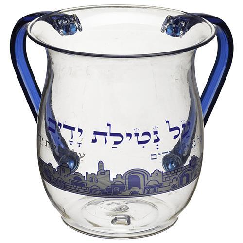 """911 נטלה אקריליק דגם """"ירושלים כחול"""" ידיות כחול 13 ס""""מ"""
