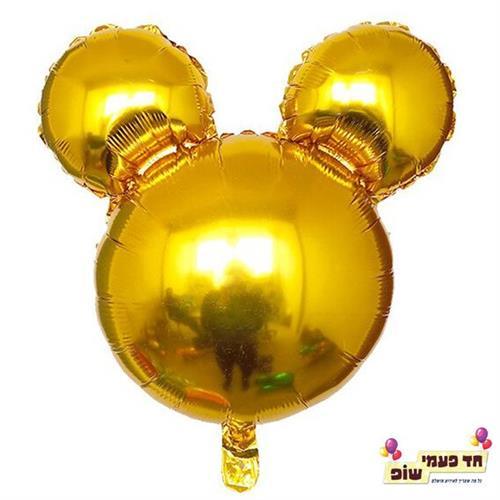 בלון 18 אינץ' מיקי ראש זהב (ללא הליום)