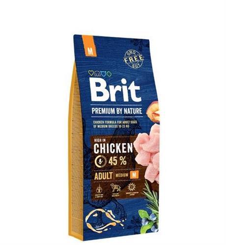 """8594031449393 מזון יבש לכלבים בוגרים מגזע בינוני עוף 15 ק""""ג Brit"""