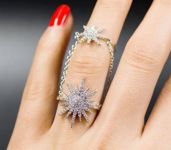 טבעת - 2 כוכבים - ציפוי זהב