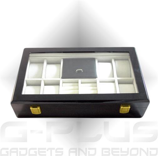 קופסא מהודרת מעץ בגימור מבריק 8 מקומות לשעונים