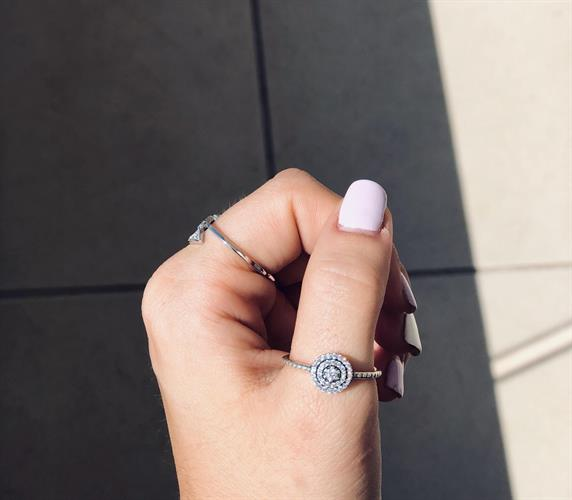 טבעת עיגול יהלום - כסף אמיתי