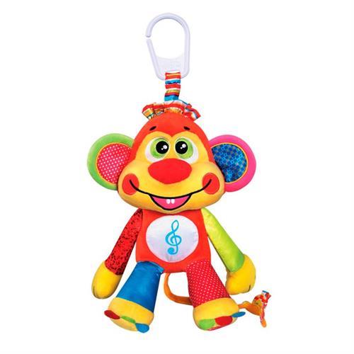 בובה קוף מנגנת עם אפשרות תליה על העגלה