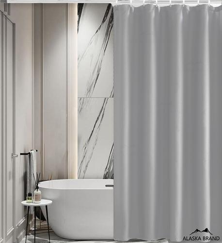 וילון אמבטיה איכותי בגוון חלק במבחר מידות צבע - אפור