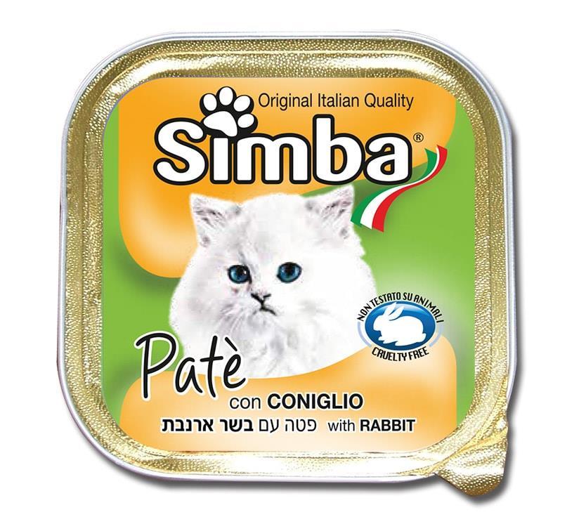 סימבה מעדן פטה  לחתול בטעם ארנבת -100 גר