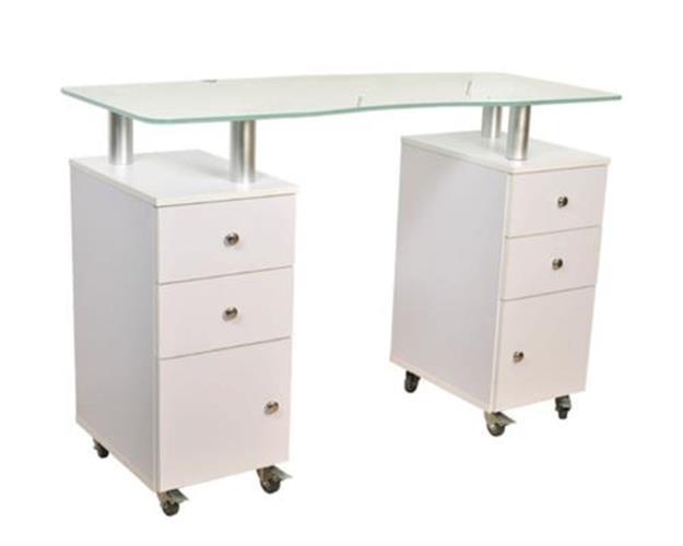 (איסוף עצמי מהחנות בלבד) שולחן מניקור מפואר עם פלטת זכוכית