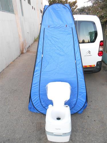 אסלה 21 ליטר עם אוהל צבע כחול בית שימוש אסלה כימי נייד שירותים כימיים ידניים ללא צורך בחשמל