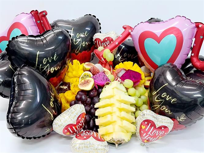 Fruit and Balloons basket - LOVE