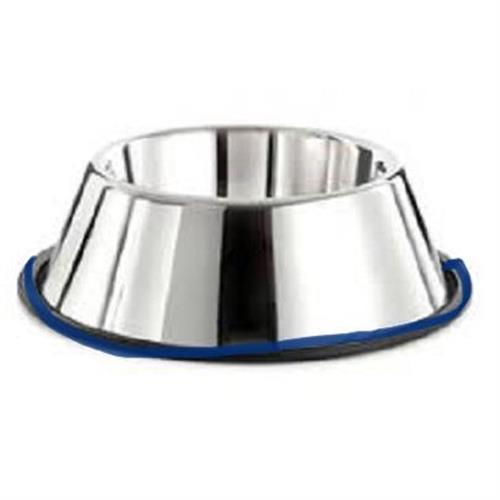 קערת  נירוסטה לכלב  קוקר / אוזניים ארוכות kumar תחתית סיליקון כחול 23 סמ