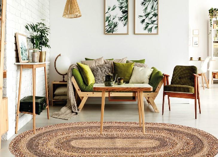 """שטיח דגם - """"טאקר"""" יוטה טבעי קלוע בעבודת יד"""
