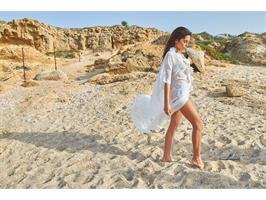בגד חוף שיפון לבן