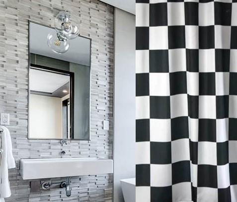 וילון אמבטיה מודפס דגם סקוור - Square