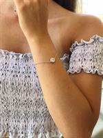 צמיד - עיגול יהלום - כסף אמיתי