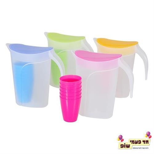 קנקן פלסטיק + 4 כוסות