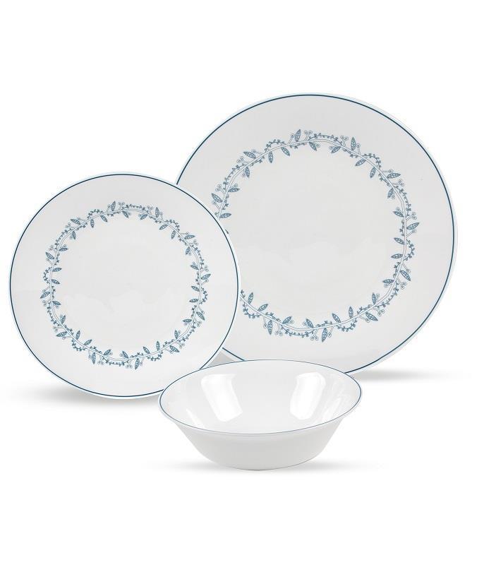סט צלחות זכוכית מעוצבות WREATH AZZURRO מבית פוד אפיל (Food Appeal), 18 חלקים
